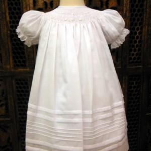 Bishop Smocked White Dress