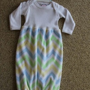 Blue and Green Chevron Gown