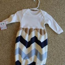 Navy Blue Tan Chevron Baby Bunt Sack