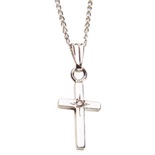 Elegant Baby Sterling Cross with Diamond