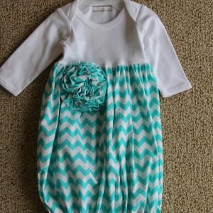 Turquoise Chevron Sack Gown