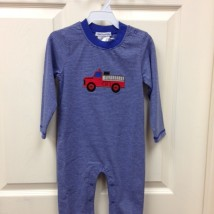 Blue Striped Fire Truck Romper