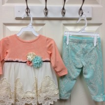 Coral Cream and Teal Set