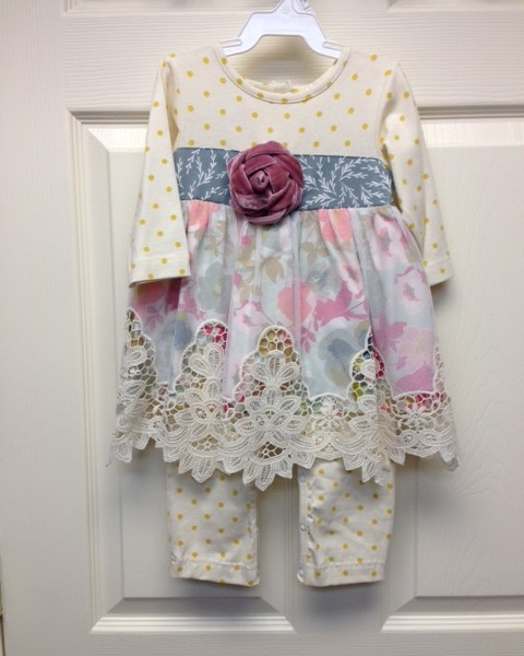 Peaches N Cream Gold Dot Pink Flower Set Fisher S Baby Boutique