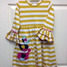 Gold and White Stripe Birds Dress