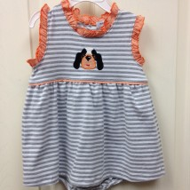 Ishtex Orange Dog Girls Romper