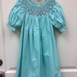 Mint Dress with Pink Smocking