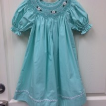 Mint Dress with White Smocked Flowers