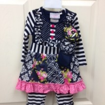 Navy & White Stripe Flower Set