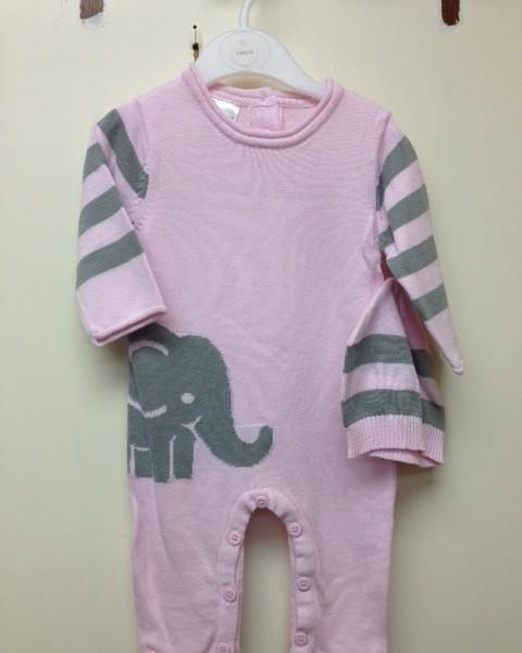 718d86a56857 Rose Textiles- Pink   Gray Stripe Elephant Onesie