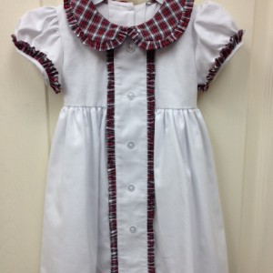White Dress w red & green check collar