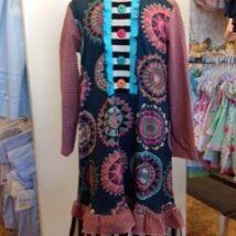 Angle Stripe Ruffle Dress
