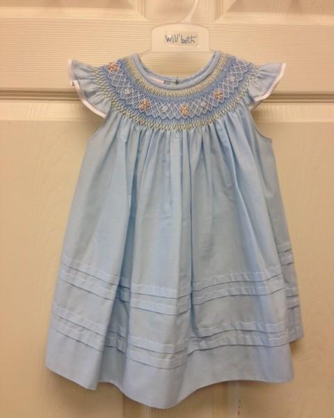 Will'beth- Blue Angel Sleeve Dress w/ Blue & Yellow ...
