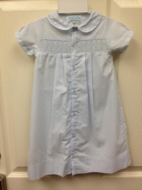 Petit Ami- Blue Button Dress w/ White Smocking | Fisher's ...