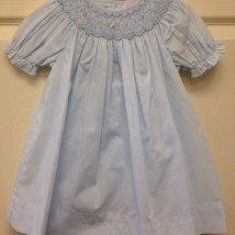 Blue Dress w smocked pearls & flowers and bloomers