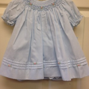 Blue Floral Smocked Dresses With Bloomers