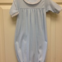 Blue Sack Gown White Crochet Trim