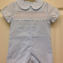 Blue & White Trim Smocked Romper