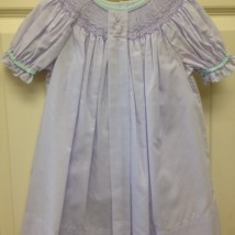 Lavender Smocked Dress w Mint Trim