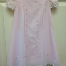 Pink Dress Lace Trim Floral Stitch Detail