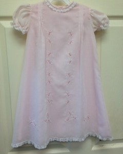 Pink Dress Lace Trim Floral Stitch Detail