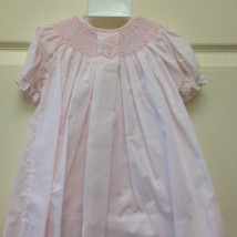Pink Dress with pink and white smocking