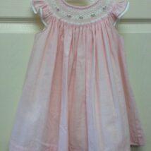 Pink Ivory Angel Sleeve Smocked Dress