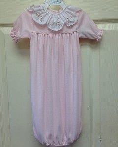 Pink Sack Gown White Floral Collar