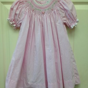 Pink & White Check Smocked Dress with Bloomers