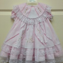 Pink White Lace Ruffle Dress