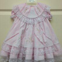 Pink White Lace Ruffle Dress