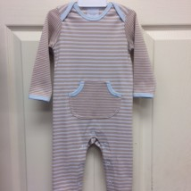Tan & White Stripe Romper w Blue Trim