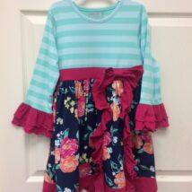 Teal-Pink Floral Dress