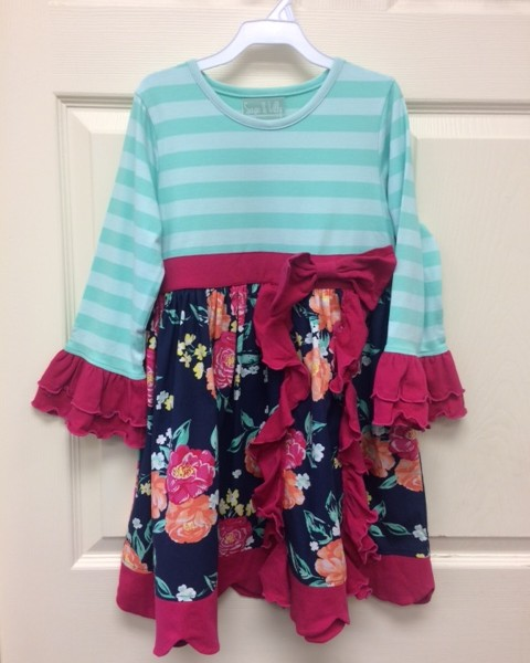 Sage & Lilly- Teal and Pink Floral Dress | Fisher's Baby ...