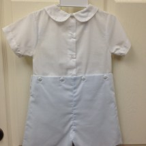 White Blue Button Shortall