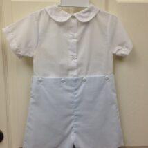 White Blue Button Shortall