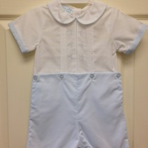 White & Blue Shortall w Blue Stitch deatail