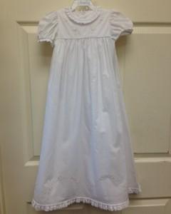 White Dress Cream Floral Stitch Detail
