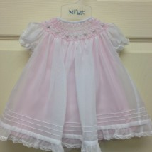 White Dress Pink Smock & Underlay