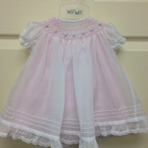 White Dress Pink Smock & Underlay