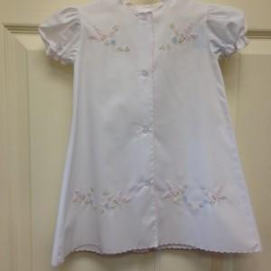 White Dress Pink Trim Stitched Butterflies