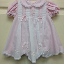White Dress Pink Underlay w Crochet Trim