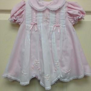 White Dress Pink Underlay w Crochet Trim
