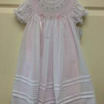 White Dress & Smock w Pink Underlay & Roses