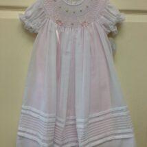 White Dress & Smock w Pink Underlay & Roses