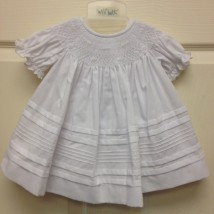 White Dress w White Floral Smocking