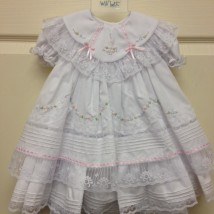 White Ruffle Lace Dress- Bloomers w Pink Trim