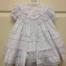 White Ruffle Lace Dress- Bloomers w Pink Trim