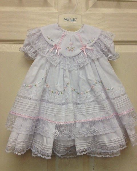 b35f781e2 Will'beth- White Ruffle Lace Dress/Bloomers | Fisher's Baby Boutique
