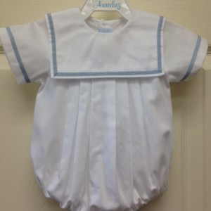 White Sailor Style Bubble Thick Blue Trim